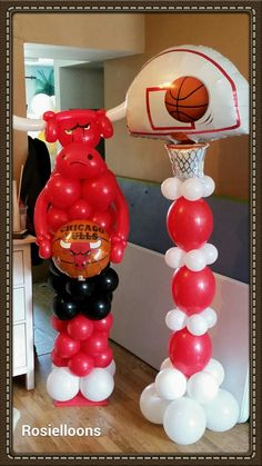 1000 images about chicago bulls balloons decor on for Balloon decoration chicago