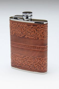 Stainless Steel Flask with Brown Patterned Leather.