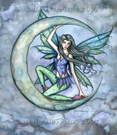 Fairy Art: A Piece of Moon close up by Artist Molly Harrison
