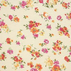 """Magenta Orange Painted Floral on Cream Cotton Spandex Blend Knit Fabric - Lovely painted effect floral design with flowers in colors of magenta purple and orange on a cream color background cotton jersey rayon spandex blend knit.  Fabric is soft and drapey, lighter to mid weight, with a nice 4 way stretch.  Largest flower measures 1"""" (see image for scale).  ::  $6.25"""