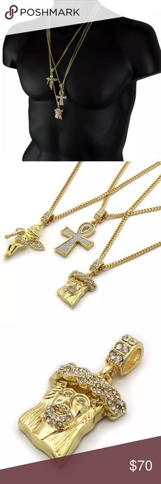 """GOLD P. ANGEL JESUS STARDUST ANKH PENDANT 24 26 30 Jesus Pendant & Angel Pendant & Stardust Ankh Pendant Bundle 3 Cuban Chains Measurements: Width: 3mm - Length: 30"""" Inches Width: 3mm - Length: 27"""" Inches Width: 3mm - Length: 24"""" Inches This listing is for a Wonderful and fashionable Pendant PLEASE REMEMBER THAT THIS CHAIN/PENDANT IS GOLD PLATED AND, IS NOT REAL GOLD Accessories Jewelry"""