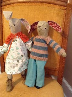 Miss Maggie and Peter Rabbit - pattern by Alicia Paulson of Posie Gets Cozy. Safely made, delivered, and all ready to go for the twins!
