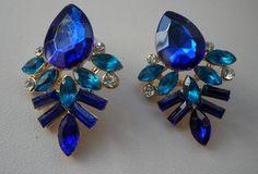 Elegant Delicate Dark Blue Inlay Shiny Rhinestone Leaf Stud Ear Earrings 1 Pair  #Handmade #Stud