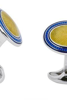 c98da5d04c74 Deakin   Francis Sterling Silver Blue Yellow Enamel Cufflinks