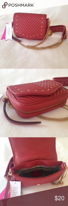 """R&Em crossbody purse Red with gold studs.  Chain strap measures 26"""" from top of bag to peak of strap. 7"""" across x 6"""" high. Magnet snap closure. Bottom expanding zipper (zipper pull can be seen on left).  New w tags. Pristine condition. Bags"""