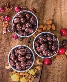 NEW!!!!!   Dark Chocolate Covered Fruit and Nut Blends - 3 Varieties Dark Chocolate Pineapple and Cashews Dark Chocolate Cranberries and Pecans Dark Chocolate Cherries and Almonds 8 oz bags, each variety is $14.00