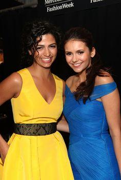 Nina Dobrev and Camila Alves Photo - Monique Lhuillier - Backstage - Fall 2012 Mercedes-Benz Fashion Week