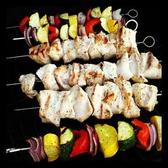 Chicken Kebobs with large hunks of chicken breast red pepper, zucchini, yellow squash and red onion, all marinated for about an hour in simple blend of 1/4 cup olive oil, 2 tablespoons of apple cider vinegar,  a half teaspoon of salt and a teaspoon of salt-free Greek seasoning (Cavendar's).  Skewer the chicken and veggies separately on metal skewers (in case one cooks faster than the other) and then grill them over medium heat for 7-9 minutes on each side.  *Fried Okra