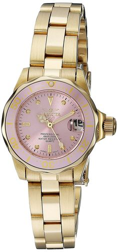 Invicta Women's 21535 Pro Diver Analog Display Japanese Quartz Gold Watch *** Details can be found by clicking on the image.