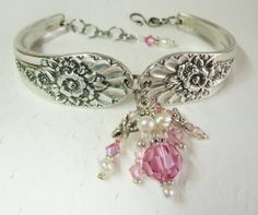 Dragonfly Spoon Bracelet, Pink Crystals, White Pearls, Jubilee 1953