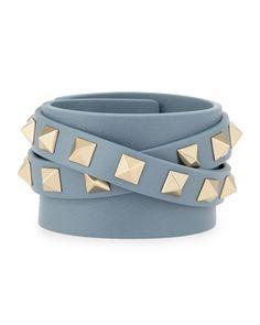 Valentino Leather Rockstud Wrap Bracelet in Blue-Gray