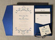 Ashley Navy Blue Swirl Wedding Invitation by ComplementaryDesign