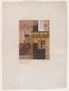 """Merz Drawing 83. Drawing F  Kurt Schwitters (German, 1887–1948)  (MoMA, NY)    1920. Cut-and-pasted papers with cardstock border, 12 7/8 x 9 1/2"""" (32.7 x 24.1 cm)."""