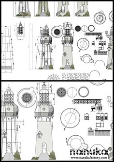 Beach Fairy Garden, Lighthouse Art, Technical Drawings, Architectural Sketches, Paper Models, Lighthouses, Nautical, Miniature, Dreams