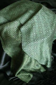 4 shaft loom, fiber is tencel - Weaving Today (also woven in purple) draft is: http://www.handweaving.net/PatternDisplay.aspx?PATTERNID=14103
