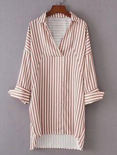 Модное асимметричное платье-рубашка в полоску