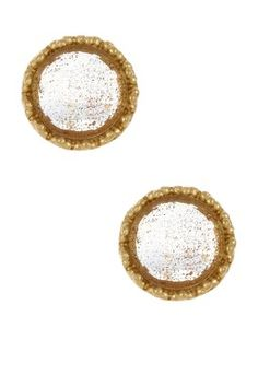 18K Gold Clad Faceted Round Gold Rutilated Crystal Stud Earrings