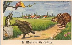 """La Fontaine's Fable: """"Le Lièvre et la Tortue"""" (The Hare and the Tortoise) Gandalf, Fables D'esope, Hare Illustration, Romper Room, Image Fun, Kids Story Books, Old Postcards, Vintage Easter, French Language"""