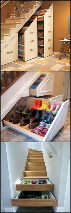 Staircase Space Idea Creative Ways To Use The Space. Storage spaces and stun. Staircase Space Idea Creative Ways To Use The Space. Storage spaces and stunning shelves under staircases are no longer an exception as home owners. Staircase Storage, Stair Storage, Storage Shelves, Shoe Storage, Bedroom Storage, Basement Storage, Basement Decorating, Storage Baskets, Storage Under Stairs
