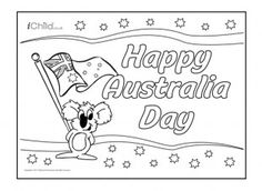 Australia Day poster for children at iChild. We have lots of Australia day colouring in pages, plus Australia Day craft ideas for your children! Happy Australia Day, Perth Australia, Western Australia, Australia Travel, Greeting Card Template, Greeting Cards, Spiders In Australia, Australia Day Celebrations, Aus Day