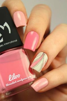 Want some ideas for wedding nail polish designs? This article is a collection of our favorite nail polish designs for your special day. Read for inspiration Nail Art Designs, Pretty Nail Designs, Short Nail Designs, Nails Design, Gorgeous Nails, Love Nails, How To Do Nails, Pretty Nails, Pink Nail Art