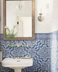 Blue and white Portuguese tile in the bathroom - another view of this bathroom here: http://habituallychic.blogspot.com/2012/01/chic-hollywood-hills-home-part-i.html