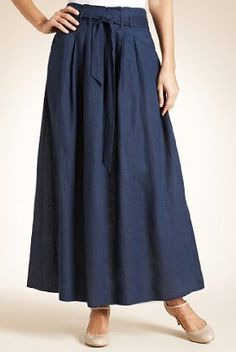 Autograph Pure Linen Belted Maxi Skirt in Dark Indigo from Marks and Spencer