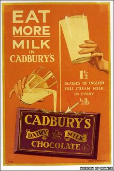 Old advert for Cadbury Dairy Milk Chocolate Old Advertisements, Retro Advertising, Retro Ads, Vintage Candy, Vintage Labels, Vintage Food, Vintage Signs, Vintage Style, Vintage Fashion