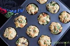 Savoury Muffins in Tin minus egg Muffin Tin Recipes, Fun Baking Recipes, Cooking Recipes, Healthy Recipes, Savory Pastry, Savoury Baking, Healthy Savoury Muffins, Savory Cupcakes, Spinach And Feta
