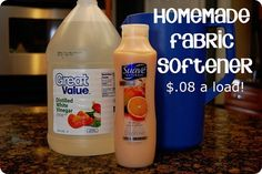 Home Made Fabric Softener  What you will need:  2 cups of your favorite scented conditioner  3 cups of white vinegar  6 cups of water hot  A container to mix the ingredients and hold the softener in    Mix all ingredients together. You can use a pitcher to mix them all together and then just pour it into an empty containter.   It takes a minute of stirring, but do it until no more conditioner clumps. Don't shake it.   Use 1/4 cup per load and it works great!