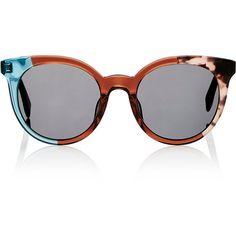 Fendi Women's Colorblocked Sunglasses ($405) ❤ liked on Polyvore featuring accessories, eyewear, sunglasses, multi, logo sunglasses, rounded sunglasses, round tortoise sunglasses, tortoise sunglasses and oversized sunglasses