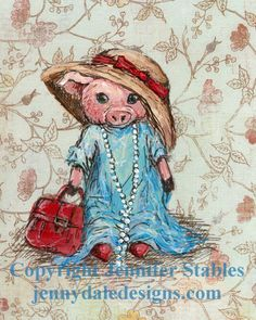 Cute Pig Art, Nursery art, Art for Girls: Stephanie Anne- Little girl pig playing dress-up (hand signed art print) on Etsy, $23.00 CAD