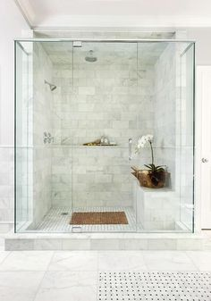 Frameless glass shower with header and pivot hinges.