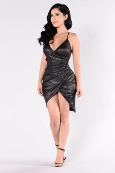 Available in Black Sparkle Dress Midi Length Spaghetti Straps X Back Detail Ruched Front Polyester Tight Dresses, Sexy Dresses, Fashion Dresses, Black Sparkle Dress, Dress Black, Xman Marvel, Looks Pinterest, Dress And Heels, Ladies Dress Design