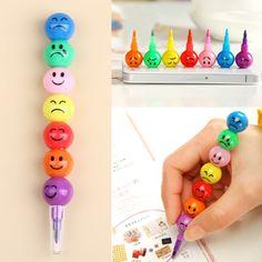 Sugar-Coated Haws Cartoon Smiley Graffiti Pen Stationery 7 Colors Crayons $0.49 (free shipping)