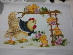 Fofo Chicken Crafts, Chicken Art, Tole Painting, Fabric Painting, Chicken Quilt, Chicken Pictures, Chickens And Roosters, Hens And Chicks, Christmas Embroidery