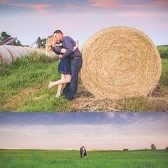 jenna larsen photography. Engagement photos. Eau claire Wisconsin photography. Farm engagement. Haybale pictures.