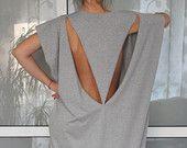 Open Back Grey Maxi dress, Caftan, Extravagant dress, Oversized dress, Party dress, Backless dress, Spring Summer dress