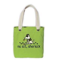No Sit, Sherlock Canvas Tote Bag - Lime Green