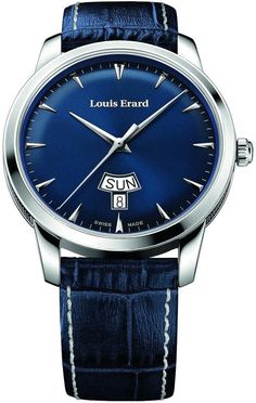 Navy/royal blue Louis Erard Watch Heritage Quartz Day Date w/ chrome bezel, tourbillon, hands, & indices