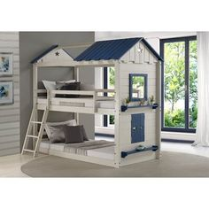 Twin over Twin Star Gaze Bunk Bed in Grey and Blue (Assembly Required - Bunk Bed - Painted), Kids Unisex, Gray, Donco Kids Bunk Bed Mattress, Twin Bunk Beds, Kids Bunk Beds, Twin Twin, Basement Bedrooms, Kids Bedroom, Blue Gray Bedroom, Princess Room, Cool Beds