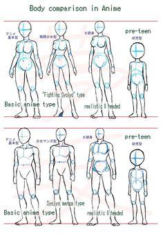 Anime body style comparison by Yumezaka.deviantart.com on @deviantART