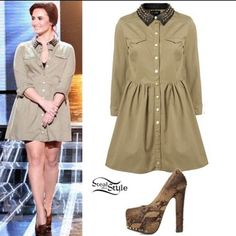 Topshop spiked collar dress Topshop spiked collar green dress as seen on Demi Lovato retails for $150 plus tax (worn once) Topshop Dresses Long Sleeve