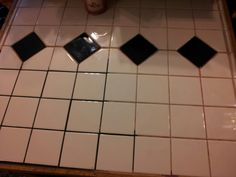 When u need a change in color on grout..cover it in black shoe polish
