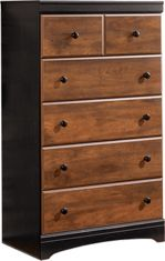 Ashley Aimwell Five Drawer Chest Chest Of Drawers, Two By Two, Cherry, Bedroom Decor, Deep, Warm, Rustic, Casual