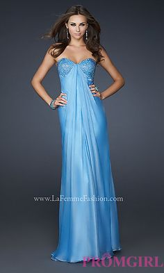 Long Strapless Sweetheart Evening Dress at PromGirl.com