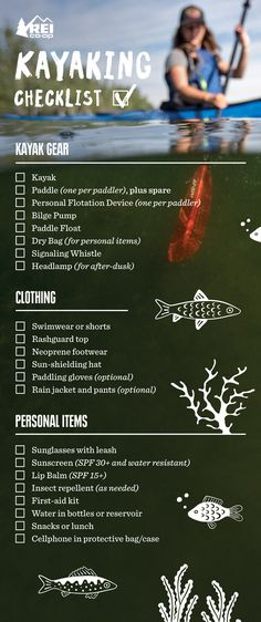 For kayaking around on calm, near-shore waters, you don't need a pile of gear. If you're paddling to a faraway destination, though, our checklist is a handy way to ensure you don't forget any essentials.