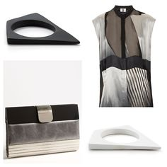 'Mixed Media Clutch' x #SondraRobertsNY #AlexisBittar 'New Wave Matte White & Black resin Bangle' Silk Devoree Shirt x #Unique