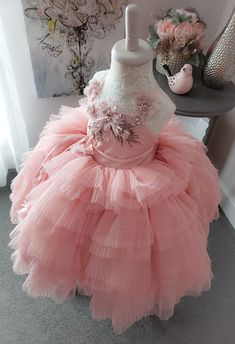 Avery Ruffle Dress by Anna Triant Couture- Avery Ruffle Dress by Anna Triant Couture - Flower Girl Dress Shoes, Flower Dresses, Ruffle Dress, Girls Pageant Dresses, Girls Dress Up, Fairy Costume For Girl, Little Girl Gowns, 1st Birthday Dresses, Wedding Dresses For Kids
