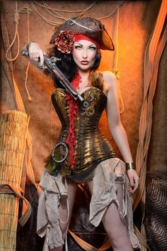 Pirate steampunk by ~The Comtesse Lea (the ol' corset-holster fools security again...) #SteamPUNK ☮k☮ Cyberpunk, Pirate Queen, Pirate Woman, Pirate Life, Lady Pirate, Diesel Punk, Pirate Wench, Pirate Hats, Gothic